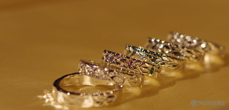 ハワイアンジュエリー結婚指輪、石入れ、ペアリング、プレゼントにNUIHERE(ヌイヘレ)のHIRAUCHI(平打ち)リング